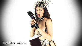 Fetish model Emily Marilyn in leopard latex leg show and strip tease